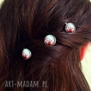 unikatowe ozdoby do włosów retro kwiaty - 3 wsuwki