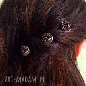niesztampowe ozdoby do włosów komplet retro kwiaty - 3 wsuwki