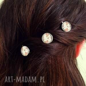 trendy ozdoby do włosów ślubne retro róże - 3 wsuwki