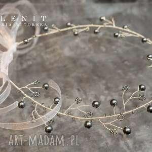 srebrne ozdoby do włosów ślub ślubna opaska