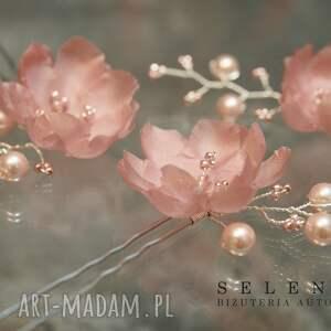 jedwab ozdoby do włosów ślubne kwiaty