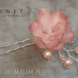 różowe ozdoby do włosów ślub ślubne kwiaty