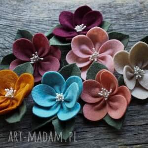 ozdoby do włosów: Spinka do kwiatek jesienny - filc dowłosów