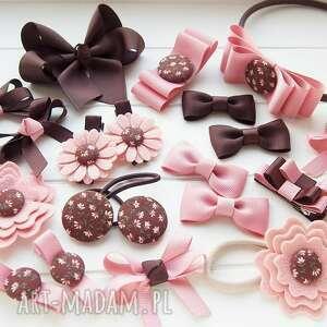 różowe ozdoby do włosów kokardki spinki do kolekcja