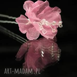 ozdoby do włosów: W kolorze różu 2 - kwiat swarovski