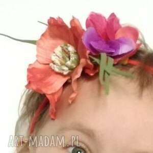 ozdoby do włosów: wianek dziewczęcy na gumce - kwiaty