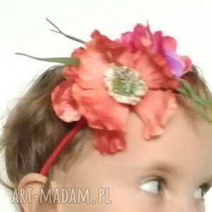 ozdoby do włosów: wianek dziewczęcy na gumce - kwiaty dzieci