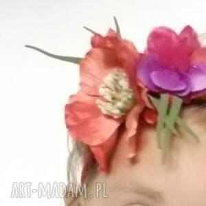 Ruda Klara ozdoby do włosów: wianek dziewczęcy na gumce - kwiaty