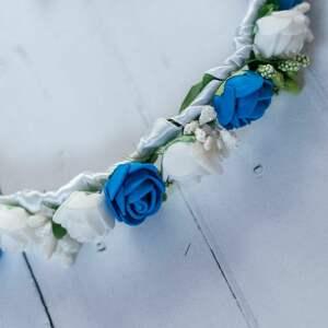 niebieskie ozdoby do włosów wianek na komunię z granatem