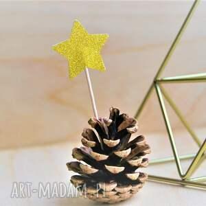 oryginalne ozdoby świąteczne pikery złote gwiazdeczki
