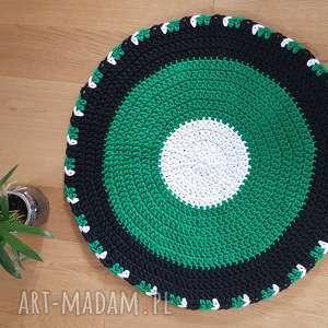 Okrągły dywan na szydełku 78 cm średnica , dywan, salon, dom, szydelko, pokoj