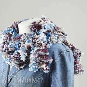 fantazyjny szal - niebieski z brązem, szalik, ciekawy, modny, ciepły, kobiecy