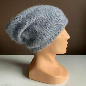 czapki ręcznie robiona czapka mgła hand made szaro błękitna alpaka