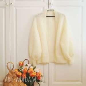 Tulip - ecru swetry mondu kardigan, lekki, wełniany, dziergany