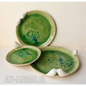 ręcznie wykonane ceramika komplet szmaragdowych talerzy