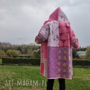 hand-made płaszcze płaszcz patchworkowy w stylu boho, długi z kapturem, kimonowy