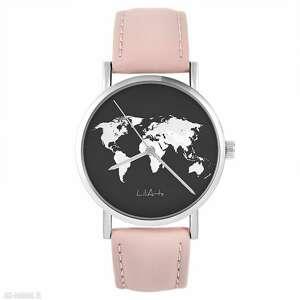zegarek - mapa świata pudrowy róż, skórzany, zegarek, pasek