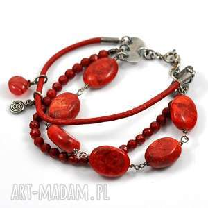 potrójna czerwona, srebro, koralowiec, rzemień, boho, trendy, modna