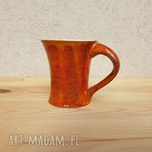 kubki kubek pomarańczowy, kubek, ceramika, glina, rękodzieło