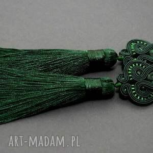 zielone kolczyki sutasz, sznurek, eleganckie, wiszące, wieczorowe, długie, chwost