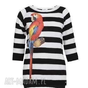 letni sweterek z aplikacją, dzianina, sweter, pasy, papuga, paski, aplikacje
