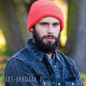 wywijana dwustronna logo z ekoskórki neon orange, czapka dla mężczyzny
