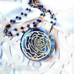 bardzo efektowny naszyjnik ze złotą różą, srebro, srebrny, lapis lazuli
