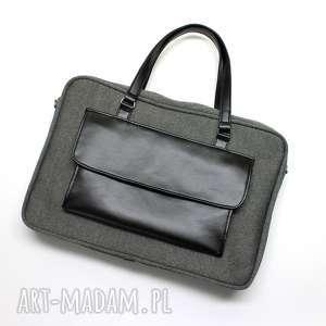 torba na laptop - tkanina szara i skóra czarna - laptop, biuro, elegancka, nowoczesna