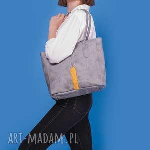 handmade na ramię pillar medium - torebka szara z żółtym