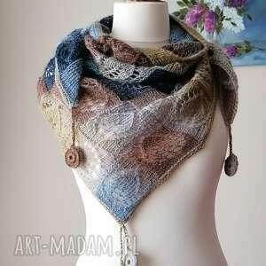 święta, ocean - designerska chusta, rękodzieło, chusta na drutach, ażurowa
