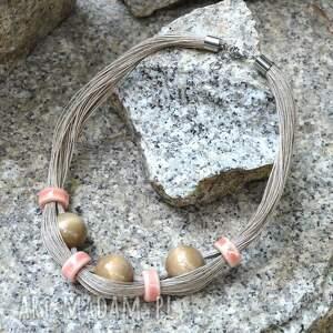 naszyjniki szaro-różowy naszyjnik lniany z drewnem i ceramiką