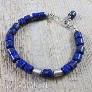 Bransoletka z walców lapis lazuli satynowymi walcami, srebro, lapis,