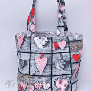 Torba na zakupy bawełna Shopperka serca retro, torba, zakupy, shopperka, szopperka