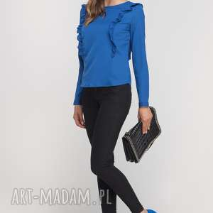 Bluzka z pionowymi falbanami, BLU136 indygo, casual, elegancka, falbanki, oryginalna