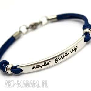 bransoletka preemi motto 1 navy blue cyna stal, bransoletka, motto, cyna