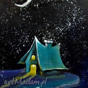 Akwarela DOMEK ELFÓW artystki plastyka Adriany Laube, akwarela, księżyc, elf, domek
