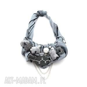 metalic naszyjnik handmade - naszyjnik, szary, srebrny, popiel