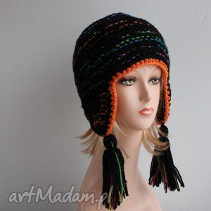 kolorowa czapka peruwianka - peruwianka, ciepła, zimowa, czapka, boho, chwosty