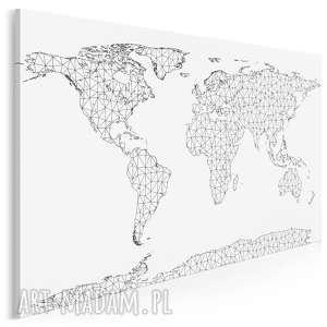 obraz na płótnie - mapa trójkąty czerń biel 120x80 cm 84601, mapa