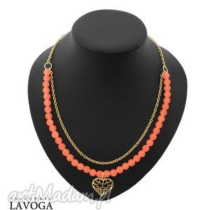 necklace - peach jade with heart - jadeit