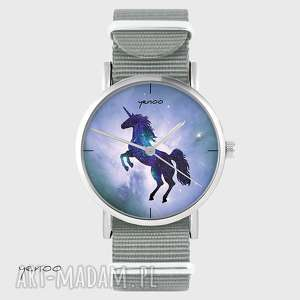 hand-made zegarki zegarek - jednorożec, unicorn szary, nato