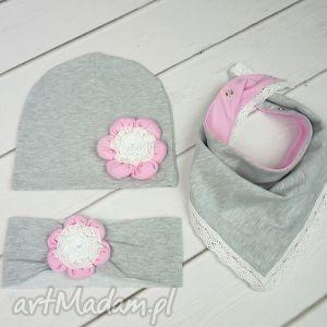 Cienki komplet dla dziewczynki, czapka, komin, opaska czapki