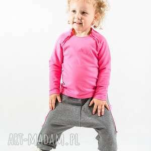 spodnie szare z krokiem różowymi kieszeniami , bawełna, kieszenie, róż, handmade