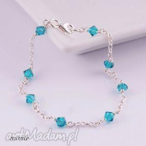 Bardzo delikatne Blue zircon, bransoletka, turkusowa, srebro, swarovski,