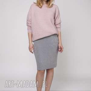 mkm swetry oryginalny sweter, swe160 pudrowy róż mkm, oryginalny, dekolt