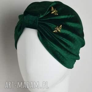 welurowy turban - turban, welur, zielony