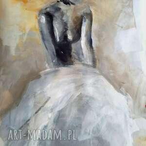 suknia 60x87, obraz do salonu, duże obrazy, kobieta obraz, pastelowy