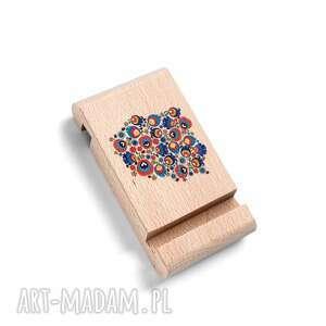 drewniany stojak pod telefon z grafiką polska, kwiaty, ludowe, folk, oryginalny