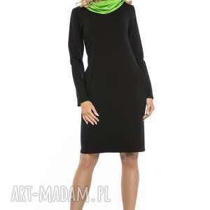 sportowa sukienka z kominem i kieszenami, t248, czarny zielony