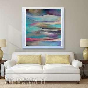 Obraz na płótnie - ABSTRAKCJA IV 50/50 cm, abstrakcja, turkus, róż, obraz, niebieski